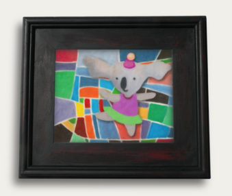 Modern Art Koalas Encaustic Painting 11-by-14 Inch Black Gallery Frame 2