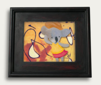 Modern Art Koalas Encaustic Painting 11-by-14 Inch Black Gallery Frame 3