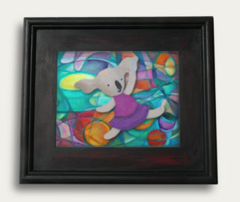 Modern Art Koalas Encaustic Painting 11-by-14 Inch Black Gallery Frame 7