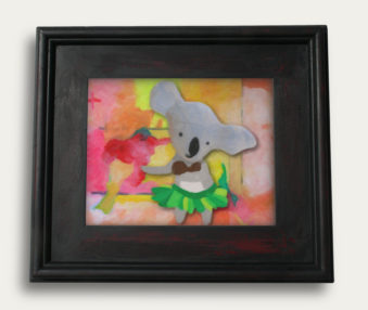 Pop Art Koalas Encaustic Painting 11-by-14 Inch Black Gallery Frame 4