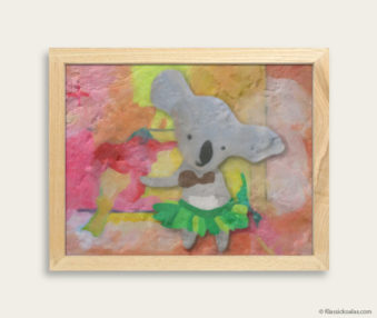 Pop Art Koalas Encaustic Painting 8-by-10 Inch Frame 39