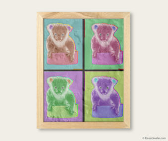 Pop Art Koalas Encaustic Painting 8-by-10 Inch Frame V 7
