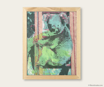 Pop Art Koalas Encaustic Painting 8-by-10 Inch Frame V 8
