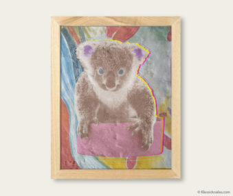 Pop Art Koalas Encaustic Painting 8-by-10 Inch Frame V 9