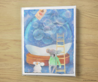 Snow Koalas Watercolor Pastel Painting 10-by-14 Inches Frame 1