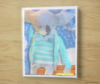 Snow Koalas Watercolor Pastel Painting 10-by-14 Inches Frame 10