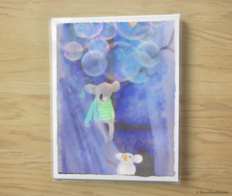 Snow Koalas Watercolor Pastel Painting 10-by-14 Inches Frame 4