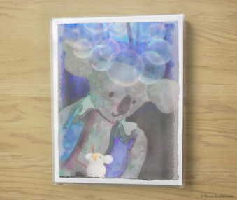 Snow Koalas Watercolor Pastel Painting 10-by-14 Inches Frame 5