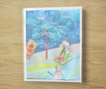 Snow Koalas Watercolor Pastel Painting 10-by-14 Inches Frame 6
