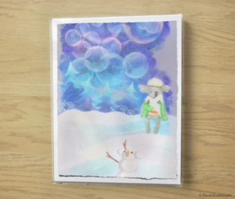 Snow Koalas Watercolor Pastel Painting 10-by-14 Inches Frame 8