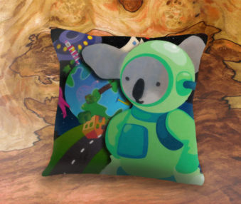 Space Koalas App Icon 22-Inch Linen Pillow