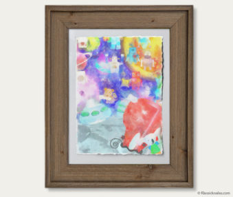 Space Koalas Watercolor Pastel Painting 12-by-16 Inches Barnwood Frame 11