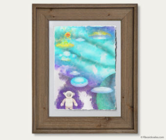 Space Koalas Watercolor Pastel Painting 12-by-16 Inches Barnwood Frame 12