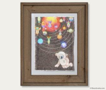 Space Koalas Watercolor Pastel Painting 12-by-16 Inches Barnwood Frame 14
