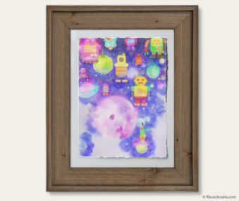 Space Koalas Watercolor Pastel Painting 12-by-16 Inches Barnwood Frame 16