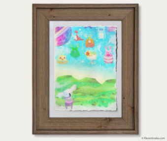 Space Koalas Watercolor Pastel Painting 12-by-16 Inches Barnwood Frame 18