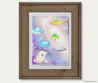 Space Koalas Watercolor Pastel Painting 12-by-16 Inches Barnwood Frame 19