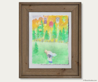 Space Koalas Watercolor Pastel Painting 12-by-16 Inches Barnwood Frame 2