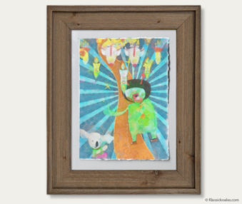 Space Koalas Watercolor Pastel Painting 12-by-16 Inches Barnwood Frame 20