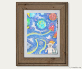 Space Koalas Watercolor Pastel Painting 12-by-16 Inches Barnwood Frame 21
