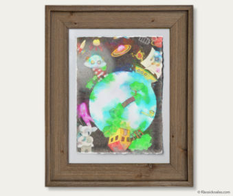 Space Koalas Watercolor Pastel Painting 12-by-16 Inches Barnwood Frame 22