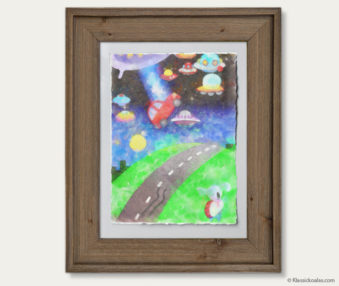 Space Koalas Watercolor Pastel Painting 12-by-16 Inches Barnwood Frame 24