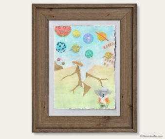 Space Koalas Watercolor Pastel Painting 12-by-16 Inches Barnwood Frame 25