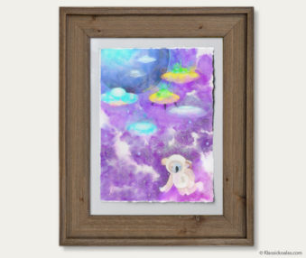 Space Koalas Watercolor Pastel Painting 12-by-16 Inches Barnwood Frame 26