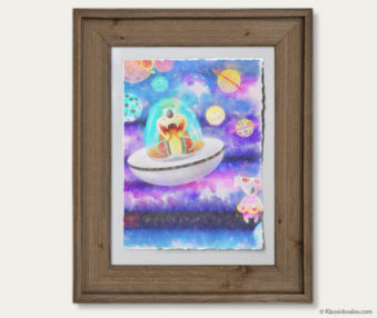 Space Koalas Watercolor Pastel Painting 12-by-16 Inches Barnwood Frame 27