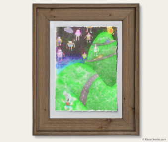 Space Koalas Watercolor Pastel Painting 12-by-16 Inches Barnwood Frame 28