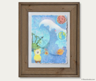 Space Koalas Watercolor Pastel Painting 12-by-16 Inches Barnwood Frame 3