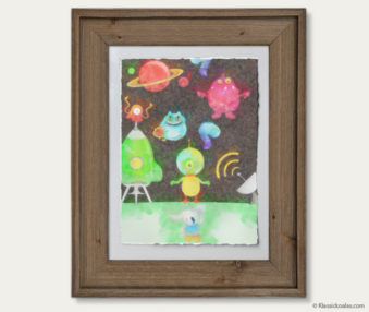 Space Koalas Watercolor Pastel Painting 12-by-16 Inches Barnwood Frame 38