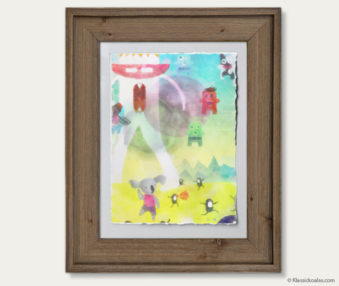 Space Koalas Watercolor Pastel Painting 12-by-16 Inches Barnwood Frame 4