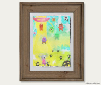 Space Koalas Watercolor Pastel Painting 12-by-16 Inches Barnwood Frame 40