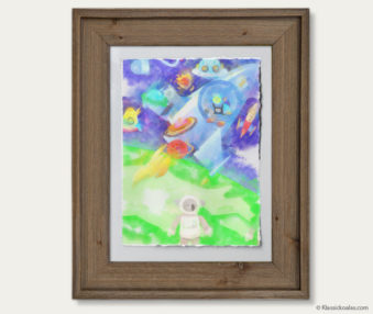 Space Koalas Watercolor Pastel Painting 12-by-16 Inches Barnwood Frame 5