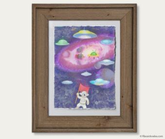 Space Koalas Watercolor Pastel Painting 12-by-16 Inches Barnwood Frame 7