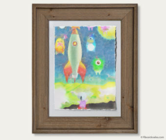 Space Koalas Watercolor Pastel Painting 12-by-16 Inches Barnwood Frame 8