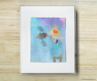 Space Koalas Watercolor Pastel Painting 8-by-10 Inch Frame 1
