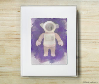 Space Koalas Watercolor Pastel Painting 8-by-10 Inch Frame 12