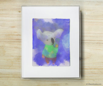 Space Koalas Watercolor Pastel Painting 8-by-10 Inch Frame 13