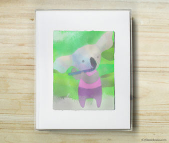Space Koalas Watercolor Pastel Painting 8-by-10 Inch Frame 18