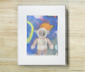 Space Koalas Watercolor Pastel Painting 8-by-10 Inch Frame 21