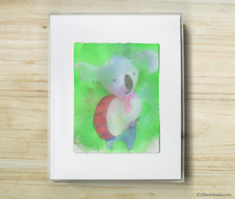 Space Koalas Watercolor Pastel Painting 8-by-10 Inch Frame 24