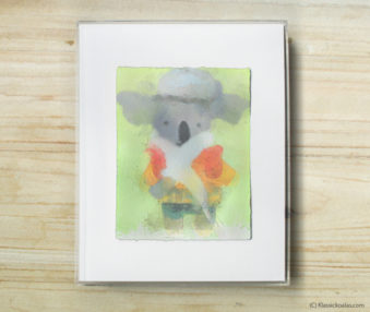 Space Koalas Watercolor Pastel Painting 8-by-10 Inch Frame 25