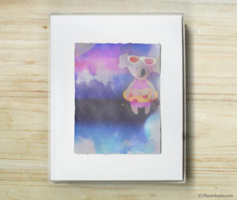 Space Koalas Watercolor Pastel Painting 8-by-10 Inch Frame 27