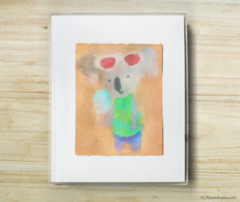 Space Koalas Watercolor Pastel Painting 8-by-10 Inch Frame 30