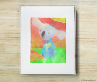 Space Koalas Watercolor Pastel Painting 8-by-10 Inch Frame 36