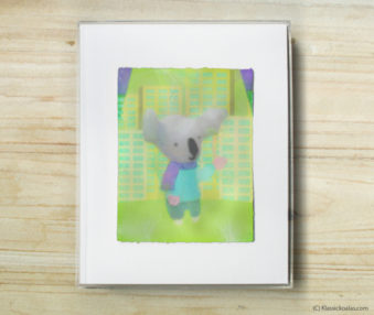 Space Koalas Watercolor Pastel Painting 8-by-10 Inch Frame 39