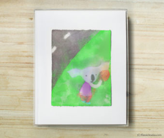 Space Koalas Watercolor Pastel Painting 8-by-10 Inch Frame 45