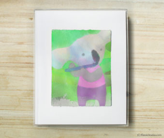 Space Koalas Watercolor Pastel Painting 8-by-10 Inch Frame 51